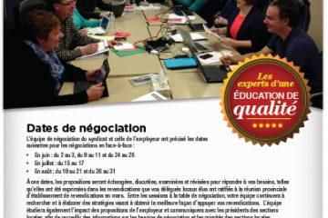 Bulletin de négociation du personnel scolaire des CAAT : Mai 2014