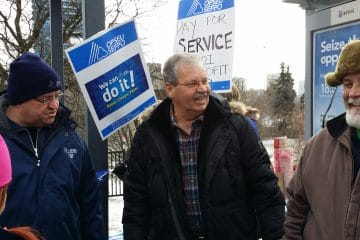 Hundreds attend OPSEU rally at Wynne's New Year's Levy