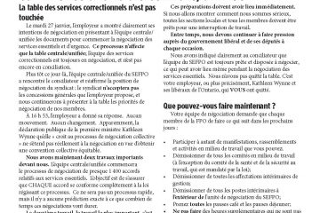 Tour de table de la FPO, numéro 6 - la négociation des services essentiels commence à la table centrale/unifiée