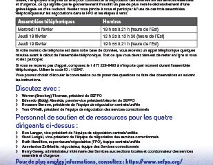 Assemblées téléphoniques sur les négociations dans la FPO, les 18 et 19 février