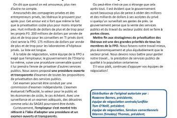 FPO Feuille d'enjeux no 10 : Privatisation des services publics : Du domaine privé et de l'opacité
