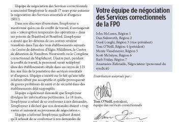 Tour de table de la FPO, numéro 10 - L'employeur rejette la demande de divulgation des Services correctionnels