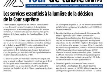 Tour de table de la FPO, numéro 12 : Les services essentiels à la lumière de la décision de la Cour suprême