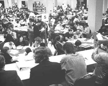 OPS All-Presidents meet in 1991 barraging for a new collective agreement.