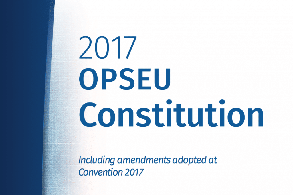 "Blue-and-white cover that says: ""2017 OPSEU Constitution including amendments adopted at Convention 2017"""