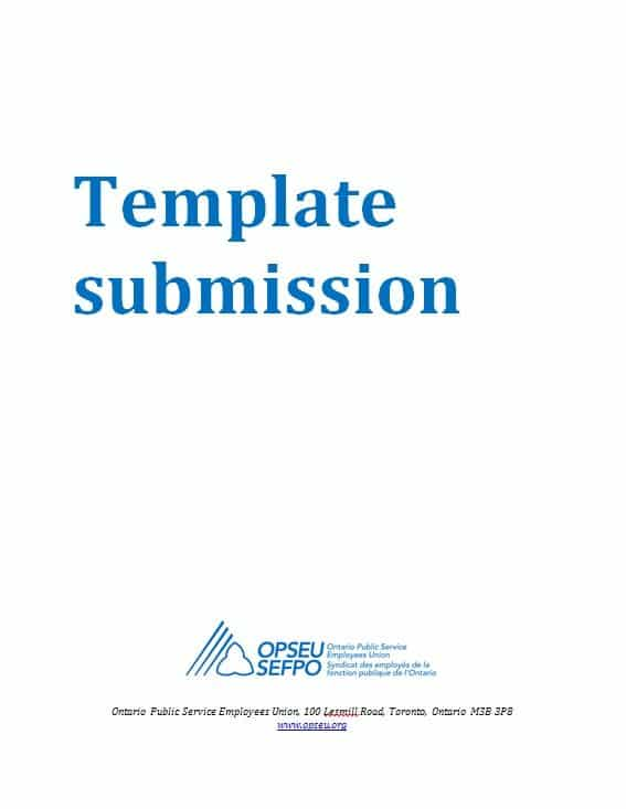 "Title page that reads: ""Template submission"""
