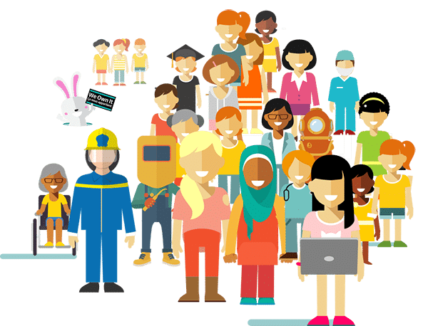 Illustrated diverse group of women.