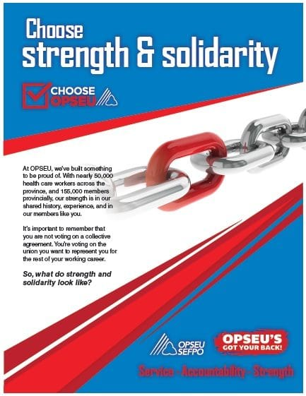 Choose strength and solidarity, choose OPSEU poster.