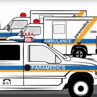 Illustration of ambulance vehicles