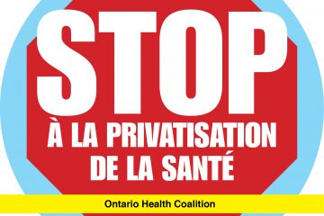 Stop a la privatisation de la sante - Ontario Health Coalition logo