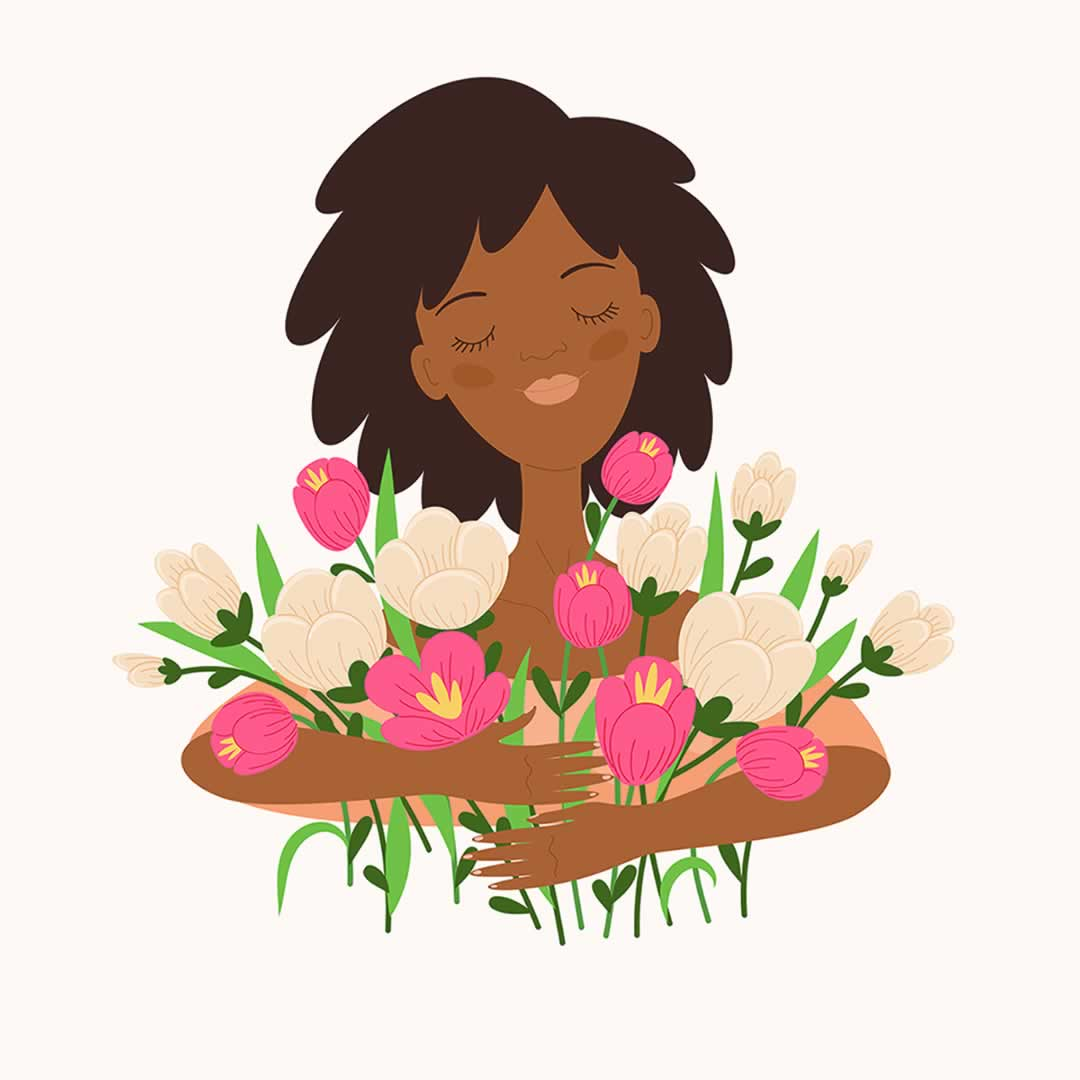 Illustration of a women holding flowers.