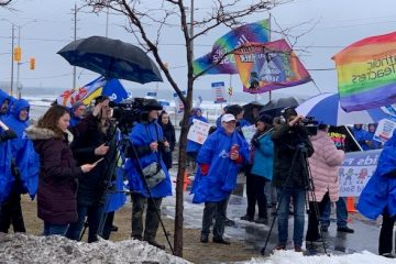 OPSEU CHEO members rally in support of autism services.