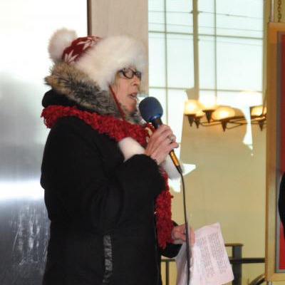 OPSEU member speaks during LCBO Rally in Toronto, Dec. 9, 2016