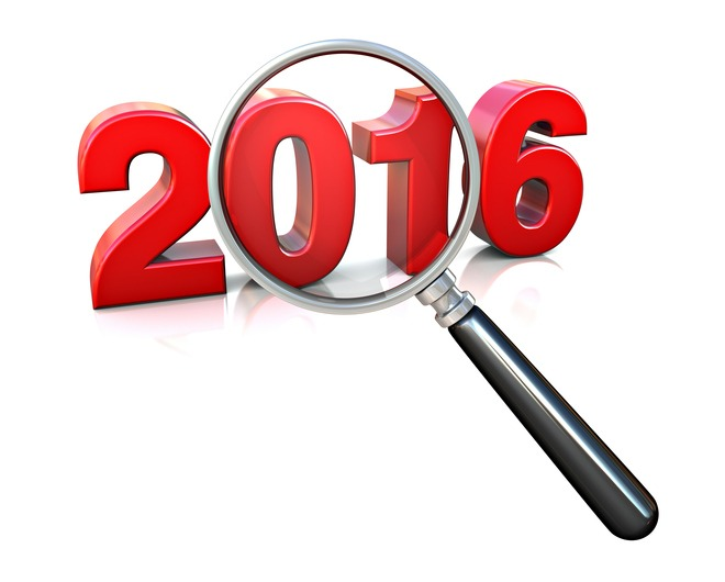 Magnifying glass over the numbers 2016