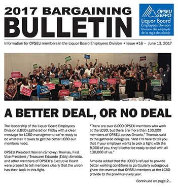 2017 LBED Bargaining Bulletin Issue 16, June 13, 2017