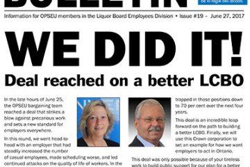 On a réussi! Entente conclue pour une meilleure LCBO - Bulletin de négociation de la LBED 2017 - Numéro 19