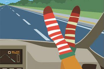 Un accident est vite arrivé… ne mettez pas vos pieds sur le tableau de bord!