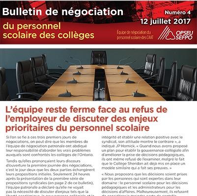 L'équipe reste ferme face au refus de l'employeur de discuter des enjeux prioritaires du personnel scolaire : Bulletin de négociation du personnel des CAAT, Numéro 4