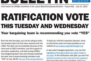 Vote de ratification, mardi et mercredi – Bulletin de négociation n°21 de la LBED 2017