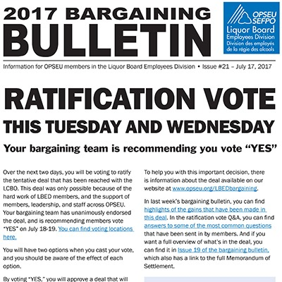 OPSEU LBED 2017 Bargaining Bulletin