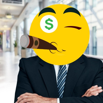 Businessman's face covered with emoji with money eyes and smoking cigar