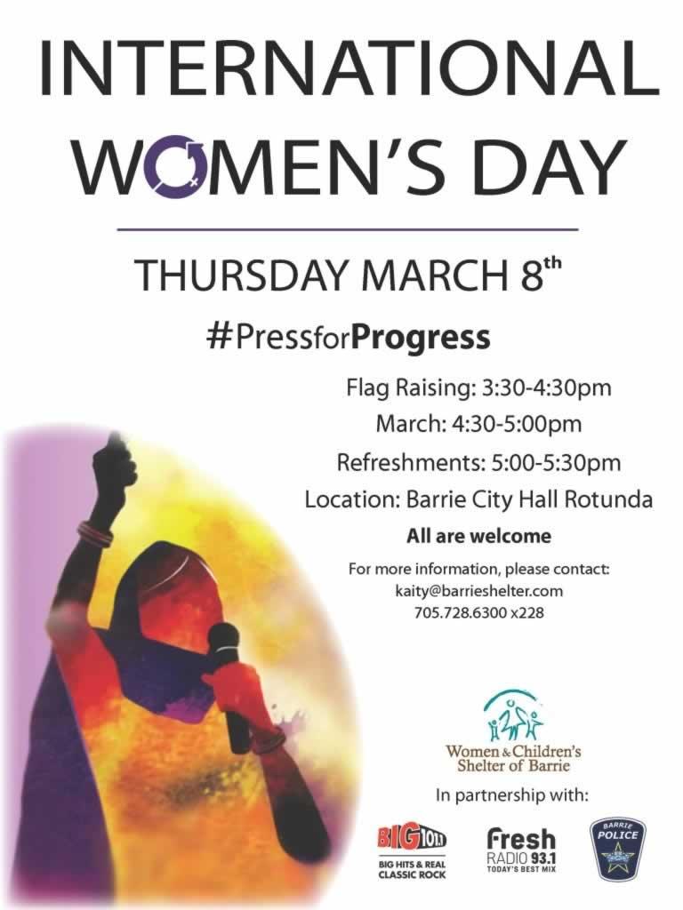 Barrie International Women's Day, Thursday, March 8
