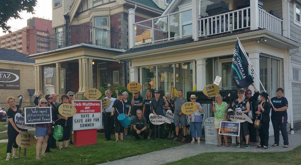 Hydro One Not For Sale rally at Liberal MLA Deb Matthews's constituency office.