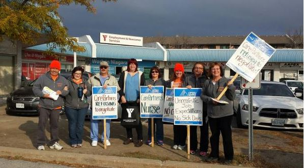 OPSEU members holding picket signs during CarePartners strike.