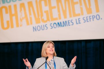 NDP Leader Andrea Horwath speaks during OPSEU Convention 2018 Day 2