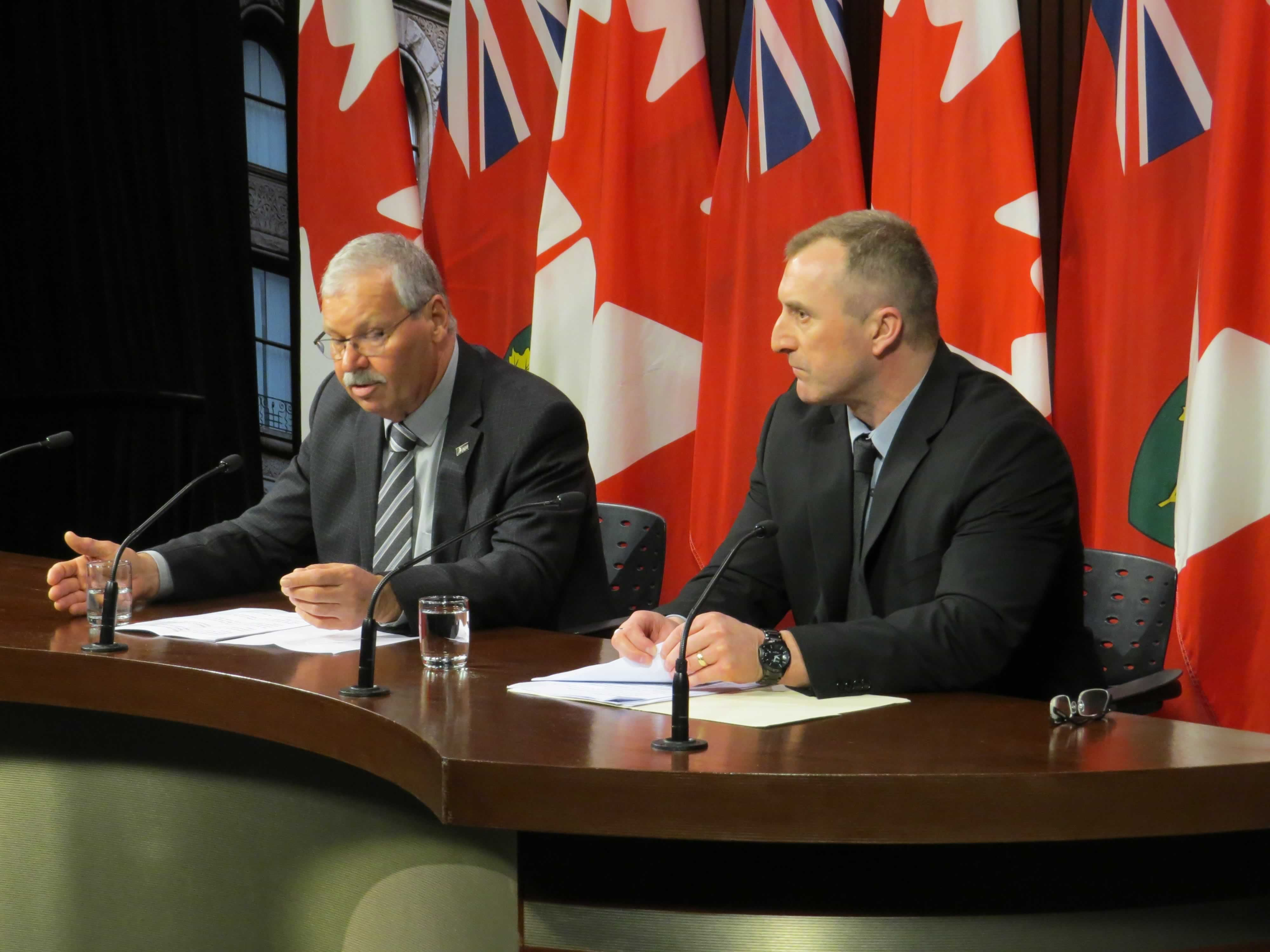 OPSEU President Warren (Smokey) Thomas and OPSEU Corrections Chair Chris Jackel speak in the Queen's Park media studio