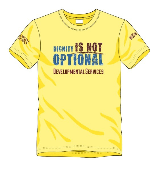 Illustration of a yellow t-shirt with the text: Dignity is not optional - OPSEU Developmental Services