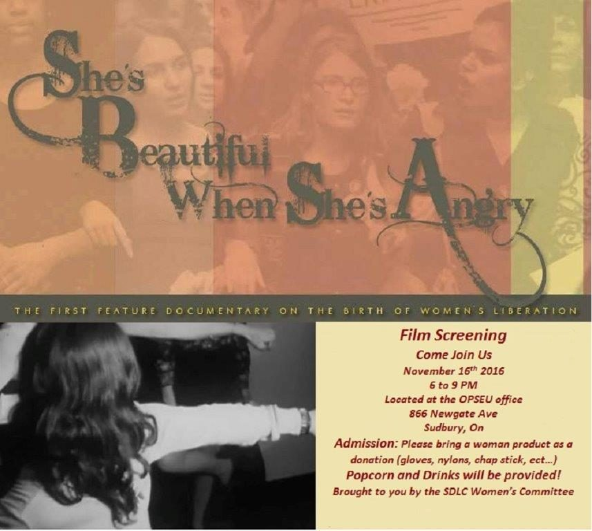 She's Beautiful When She's Angry film screening - Nov. 16, 2016, Sudbury