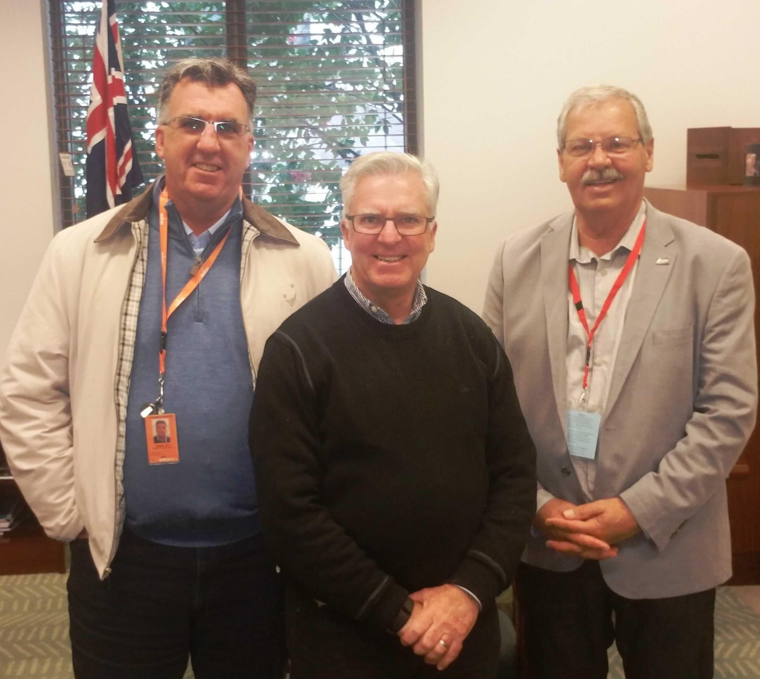 HSU Secretary Gerard Hayes, Labor Party House Whip Chris Hayes and OPSEU President Warren (Smokey) Thomas