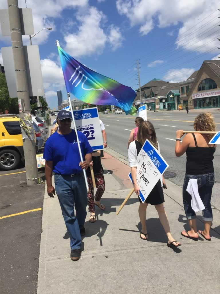 OPSEU members rally in Mississauga.