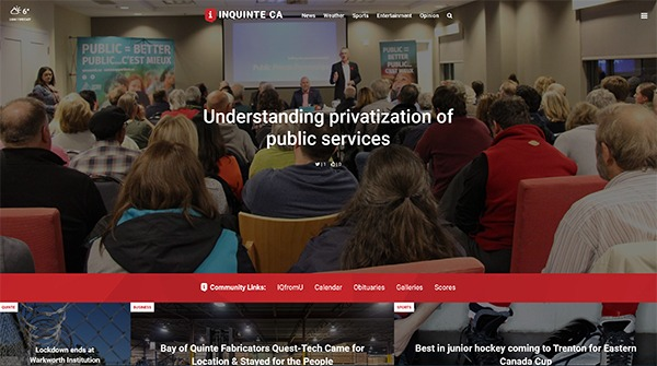 """InQuinte.ca front page with the headline: """"Understanding privatization of public services"""""""