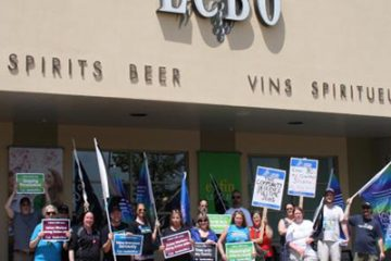 LBED Members standing in front of LCBO store in Cornwall: Information Picket