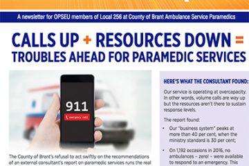 Techniciens ambulanciers de Brant, SL 256 : les appels ne cessent d'augmenter, les ressources de diminuer