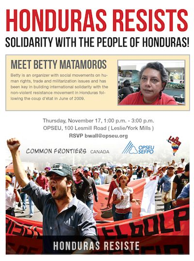 Solidarity with the People of Honduras event poster