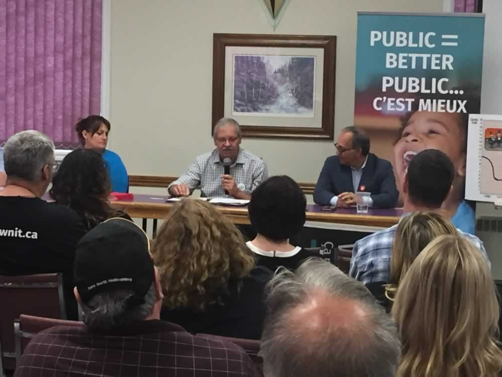 OPSEU President Warren (Smokey) Thomas speaks during the North Bay We Own It town hall