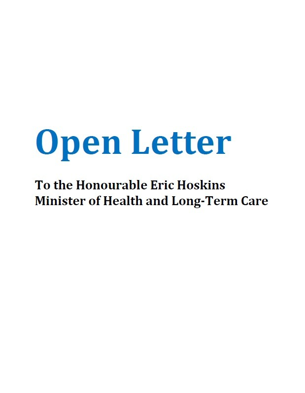 Open letter to the Honourable Eric Hoskins, Minister of Health and Long-Term Care