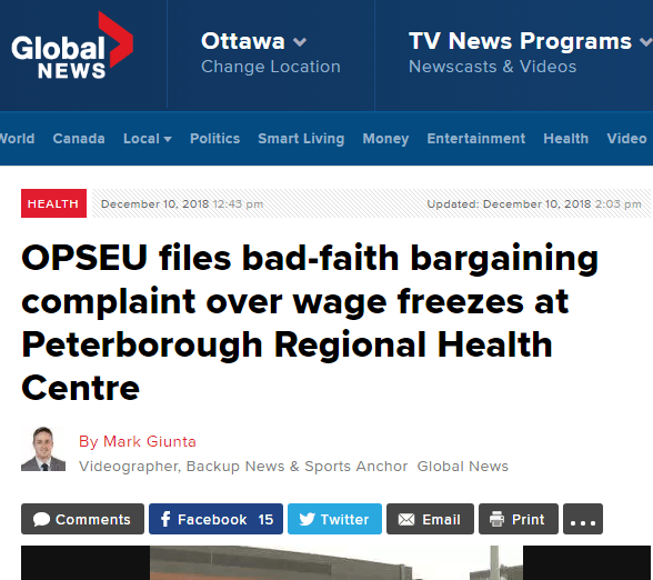 Global news headline: OPSEU files bad-faith bargaining complaint over wage freezes at Peterborough Regional Health Centre