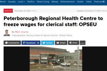Le Centre régional de santé de Peterborough veut geler les salaires des employées de bureau : SEFPO