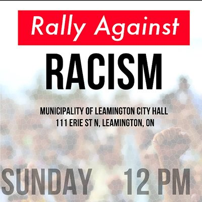 Rally against racism, Leamington City Hall, Sunday 12pm