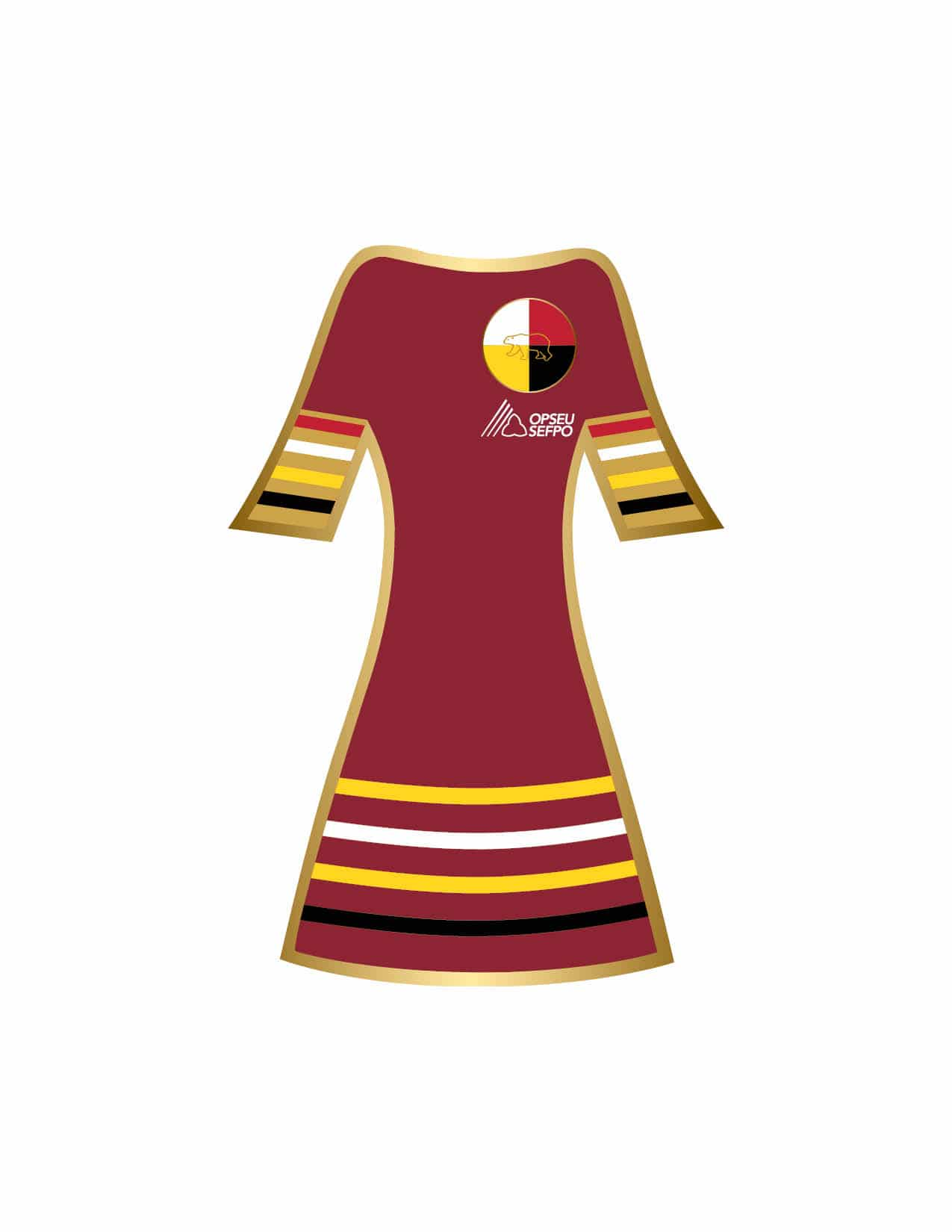 Illustration of a red dress with a Indigenous circle logo and an OPSEU SEFPO logo