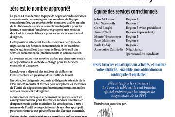 Tour de table 2015 de la FPO, numéro 16 - Pour les Services essentiels, zéro est le nombre approprié!