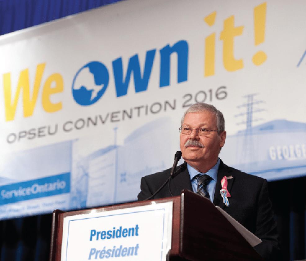 OPSEU President Warren (Smokey) Thomas at the podium during Convention 2016