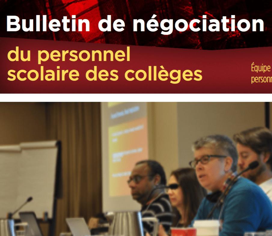 Bulletin de negociation du personnel scolaire des colleges
