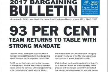 93 pour cent : L'équipe retourne à la table avec un mandat fort - Bulletin de négociation de la LBED 2017, numéro 12