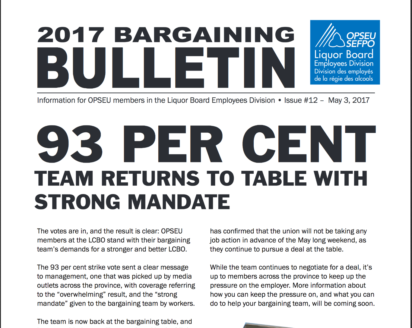 LBED Bargaining Bulletin, Issue 12, May 3, 2017