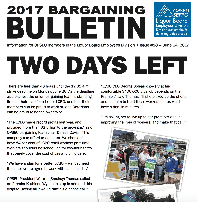 Plus que deux jours - Bulletin de négociation de la LBED 2017 - Numéro 18